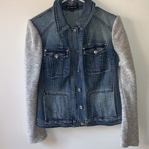 INC Jean Jacket with Sweater Sleeves Size Small